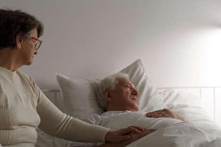 Senior loving marriage cherish last days of sick elderly husband