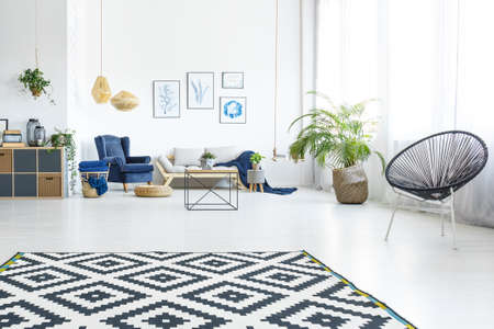 Modern living room with sofa, round chair and pattern carpet Standard-Bild
