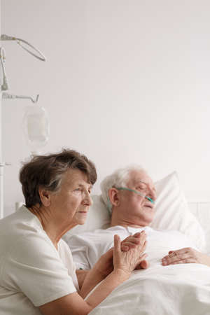 Love and tenderness between senior marriage in their final moments