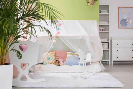 Sleeping place with tent and cradle for baby in cozy room