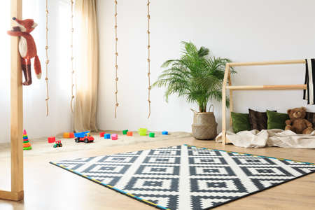 Soft cozy eco friendly fabric in neutral bright kids room