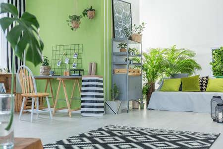 Modernes Und Komfortables Zimmer Mit Grüner Wand Lizenzfreie ...