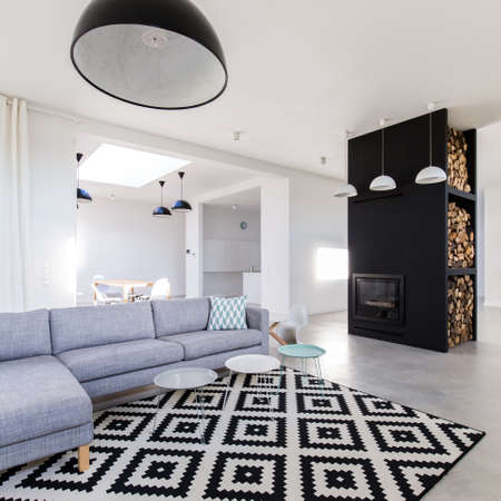 Stylish grey and white living room with comfortable sofa, modernist fireplace and patterned carpet Stock Photo