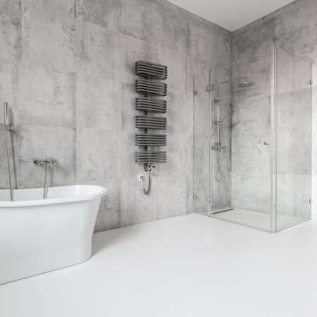 Big and contemporary bathroom in the modern house in scandinavian style
