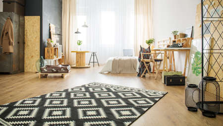 Spacious modern studio apartment with black and white carpet Stock Photo