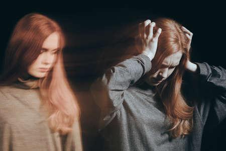 女性ムード スイング、うつ病に苦しんで 写真素材