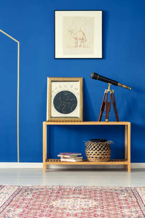 Blue room with pattern rug, old telescope, wooden bookcase, posters