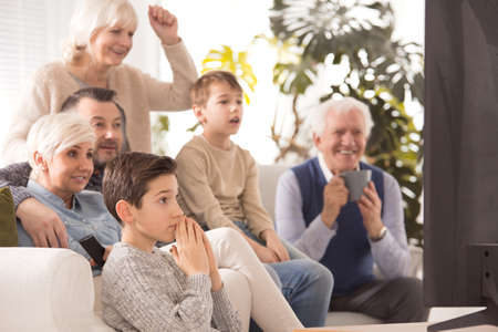 Family watching game together and cheering a team