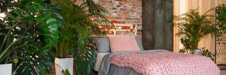 Tranquil harmonious bedroom in modern botanic studio flat 版權商用圖片