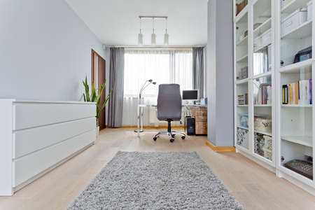 White modern home office with desk, computer and bookshelf Фото со стока - 79820206