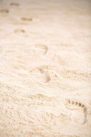 Jesus Christs footprints on the beach sand