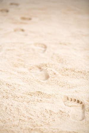 Jesus Christs footprints on the beach sand