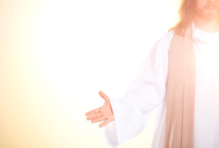 Bright photo of Jesus Christ with open arms