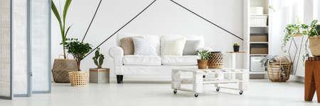 Bright modern white apartment in Scandinavian style Stock Photo