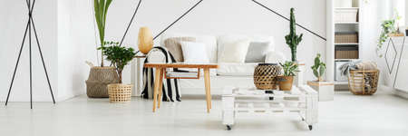 Bright living room decorated in Scandinavian style