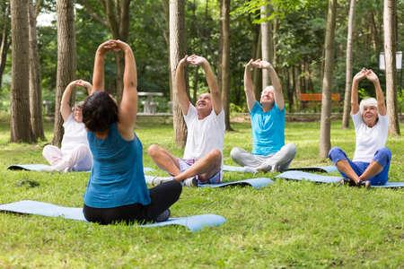 Grupo de personas mayores activas que trabajan en un parque junto a la casa de jubilación Foto de archivo - 80159806