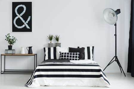 Minimalist bedroom with floor lamp and black and white decorations