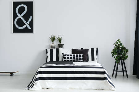 Modern, minimalist, black and white bedroom with plants and skateboard