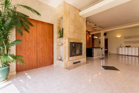 Elegant spacious hallway with doors, travertine fireplace and kitchen in the background