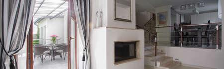 Interior of luxury apartment with cozy verandah