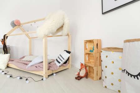 Soft pastel and creamy colors in dreamy scandinavian baby room Banco de Imagens