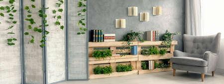 Inspiring living room full of books and plants