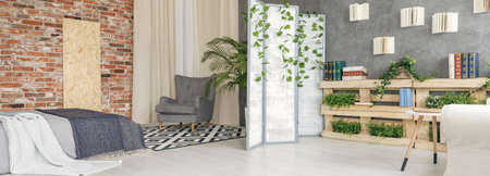 Panoramic view of multifunctional flat with plants