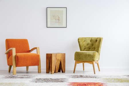 Minimalist interior stylization with two retro armchairs 版權商用圖片