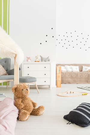 Stylish inspiring scandi style baby room with creamy delicate design