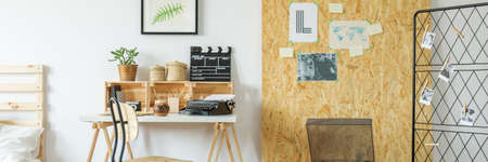 Modern apartment with osb wall, simple desk and chair, panorama