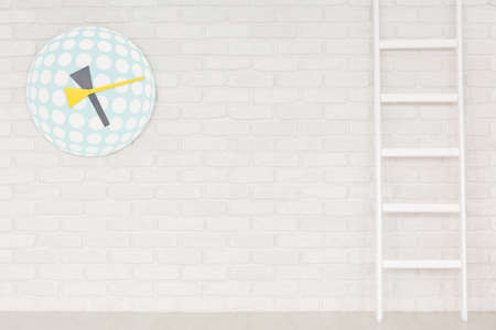 Colorfull funny childs clock and ladder on white brick wall 版權商用圖片