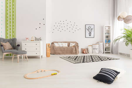 Simple multifunctional baby room decor in scandinavian design Stock fotó
