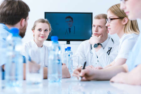 Medical video conference with professional doctors  at the private hospital Stock Photo