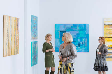 Elegant senior woman looking at the painting in gallery Stock Photo