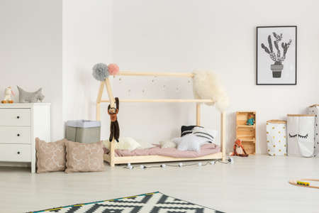 Ethereal light baby nursery with pastel and white accessories Banco de Imagens