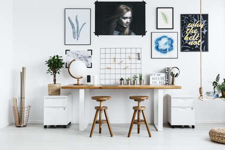 trendy home office. Modern Double Desk With Accessories In Trendy Home Office Stock Photo -  82807065 U