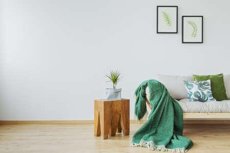 Green and botanic accents in minimalist, scandi interior Stock Photo