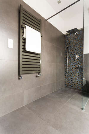 Dark modern bathroom with grey tiles, glass shower cubicle and radiator Stock Photo