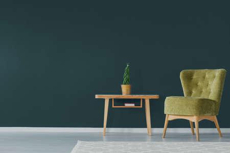 暗い青緑色の壁に緑のビロードの肘掛け椅子