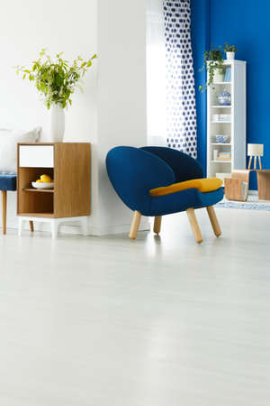 広々 とした白いリビング ルームで青い椅子