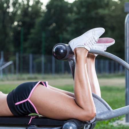 Women in park doing exercises for legs