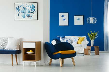 Modern living room interior with flower posters Banco de Imagens