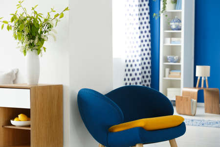 Blue chair and vase with flowers in cozy modern living room
