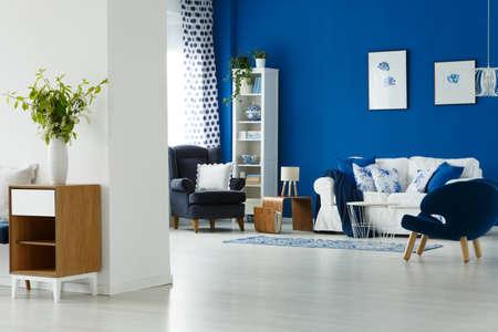 Cozy blue and white living room interior