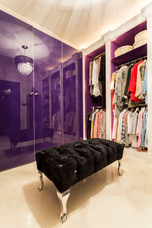 바이올렛 톤으로 디자인 된 수납 공간을 갖춘 플러시 한 호화로운 옷장과 현대적인 옷장