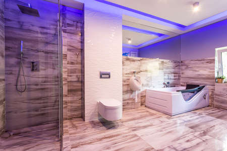 Spacious bathroom with marble tiles, toilet, hot tub and glass shower cabin Banco de Imagens
