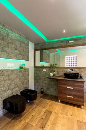Bathroom with black modern toilet bowl and bidet with wooden flooring ang green panel light