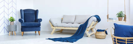 navy blue background: Eco style stylish lounge in white and navy blue colors
