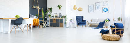 Up-to-date deco of white and navy blue spacious apartment