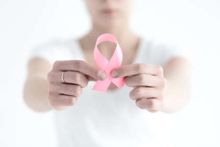 Woman not being ashamed by having a breast cancer